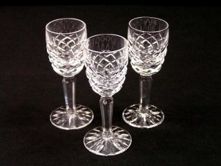 "Vintage Waterford Irish Crystal "" Comeragh "" Hand Cut Cordial Glass 3 Pc Set Euc"