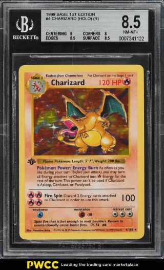 1999 Pokemon Game 1st Edition Holo Charizard 4 Bgs 8.  5 Nm - Mt,  (pwcc)