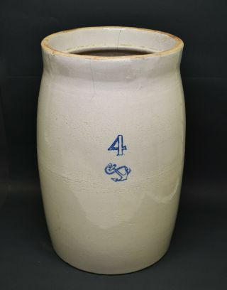 Antique Stoneware 4 Gallon Crock With Cobalt Blue Anchor 16 ""