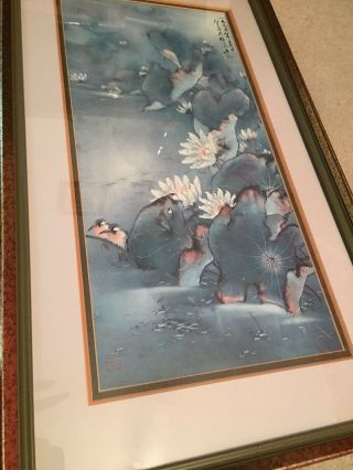 """Vintage / Antique Chinese Silk Painting Birds With Flowers Signed 14 X 24"""" Fr"""