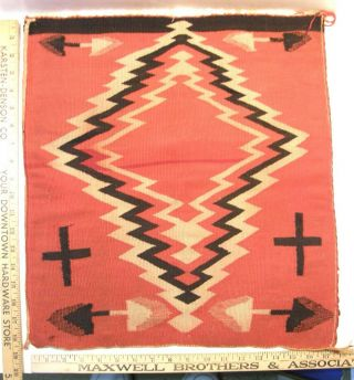 "Vintage Antique Navajo Native American Weaving Rug 17.  5 "" X 19 "" Arrows & Crosses"