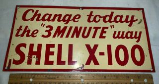 Antique Shell X - 100 Motor Oil Gas Service Station Tin Litho Sign Vintage Car Old