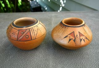 Vintage Native American Pueblo Pottery Small Bowls - Set Of Two - Hopi ?