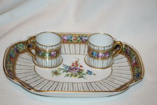 Antique Sevres France Porcelain Double Saucer With 2 Cups,  Finest Quality