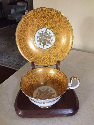 Aynsley Orange / Gold Gilt Tea Cup & Saucer Fancy Vintage Teacup