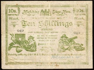 South Africa: Boer War Mafeking Siege 10 Shillings.  P S654b