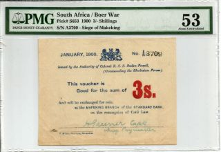 South Africa: Boer War Mafeking Siege 3 Shillings Prefix A.  P S653 Pmg 53