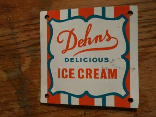 1950s Vintage Dehns Delicious Ice Cream Metal Tin Sign General Store Parlor Cafe