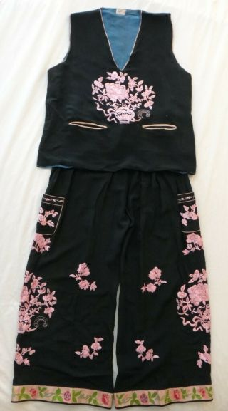 Vintage Chinese Embroidered Woman's 2pc.  Black Fabric W/ Silk Pink Floral