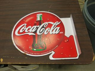 Vintage Coca Cola Double Sided Flanged Metal Sign