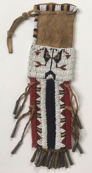 Vintage Native American Sioux Beaded Leather Pipe Medicine Bag Pouch Fringed
