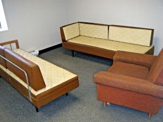 Vintage Mid - Century Living Room Set,  Two Faux Leather Sofas And One Armchair