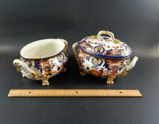Two Antique English Derby Imari Porcelain Compotes Old Japan Pattern 19th C