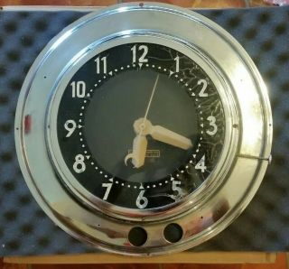 "Glo Dial 2 Ring Neon Clock Running No Neon 17.  25"" Overall Mid Century"