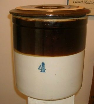 Antique Brown Stoneware 4 Gallon Crock With Lid