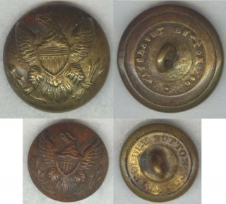 Civil War Us Enlisted Coat & Cuff Buttons - W/ 1861 - 65 Rmdc Waterbury Button Co.