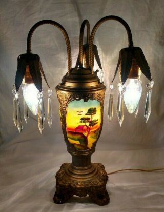 Vtg Antique Epergne Table Lamp Reverse Painted Glass Art Deco Nouveau