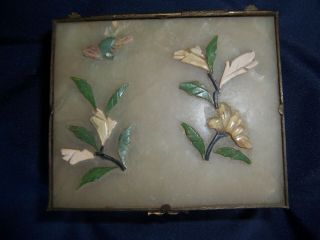 Vintage Chinese Jade Or Serpentine Box With Applied Flowers Bird Brass