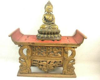Vintage Chinese C.  1910 Hand Carved Wooden Lacquer Buddhist Altar Offering Stand