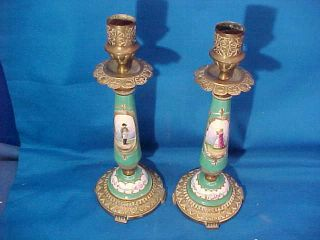 Early 19thc Napoleon,  Josephine Hand Painted Porcelain Gilt Bronze Candlesticks