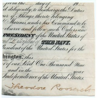President Theodore Teddy Roosevelt Signed Naval Commission Cut Beckett Bas