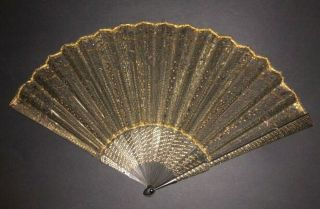 Fine Antique French Duvelleroy ? Carved Wood Paillettes Inlaid Embroidered Fan
