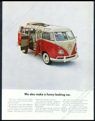 1961 Vw Bus Color Photo We Also Make A Funny - Looking Car Volkswagen 13x10 Ad