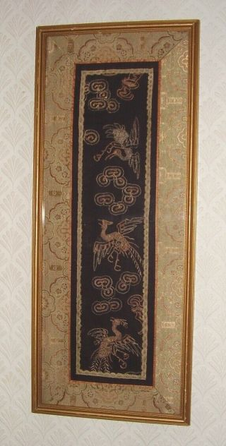 Antique Chinese Silk Tapestry Bats Birds & Clouds Rank Badge Circa 1890