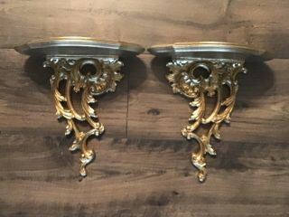 Large Vintage Ornate Gold Syroco Wood Wall Hanging Sconce Shelf's
