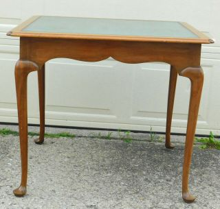 Vintage Kittinger Ny Mahogany Queen Anne Leather Top Card Table T297 Games