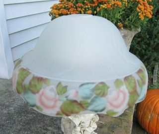 Vintage Reverse Painted Roses Art Deco Handel Pairpoint Style Glass Lamp Shade