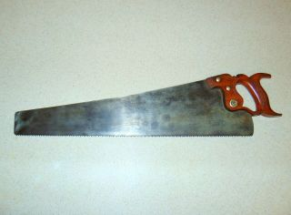 "Vintage Chas.  W.  Hallett 22 "" Crosscut Panel Saw - 7 - Ppi - Nv151"