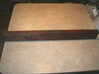 """Antique Stanley Brass And Wood Level Patent 1862 1872 Rare Early 28 """""""