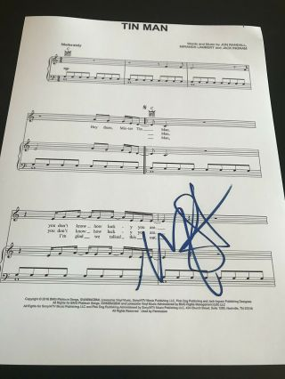 Miranda Lambert Signed Autograph Sheet Music Tin Man Words And Lyrics Rare