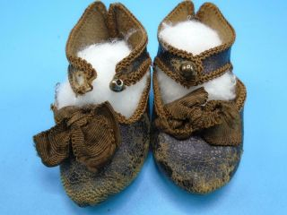 Antique French Bisque Doll Shoes Jumeau Depose Paris Bee Incised Mark Size 6