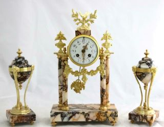 French Antique Mantle Clock Set 8 Day Bell Striking Red Marble Portico 3 Piece