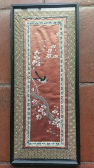 "Antique Vintage Chinese Framed Silk Embroidery Panel 10.  5 "" X 24 """