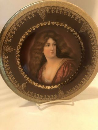 Royal Vienna Hand Painted Portrait Of Amorosa Plate Gold Gild Beehive Mark