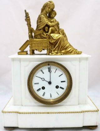 Antique Mantle Clock Stunning French White Marble And Bronze Figurine Figure