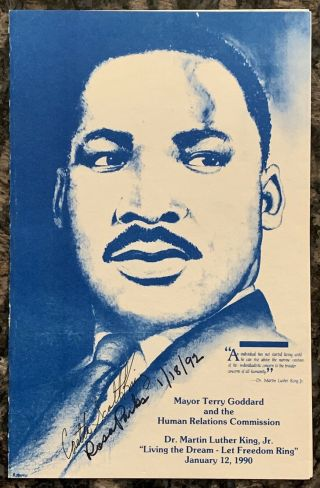Martin Luther King Jr Program Signed By Rosa Parks And Caretta Scott King 1992