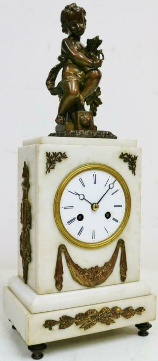 Antique French Empire 8 Day Bell Striking Silk Suspension Marble Mantel Clock