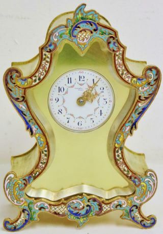 Rare Sweet Antique French 8 Day Bronze Ormolu & Champleve Enamel Mantle Clock