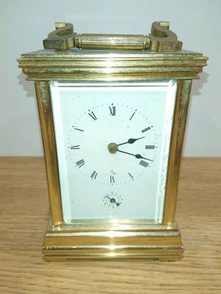 Antique French Brass 8 Day Bell Strike Alarm Carriage Clock 11 Jewels
