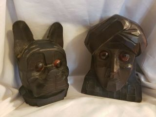 Very Rare Vintage 1920/30s Germany Rolling Eye Carved Wooden Clocks
