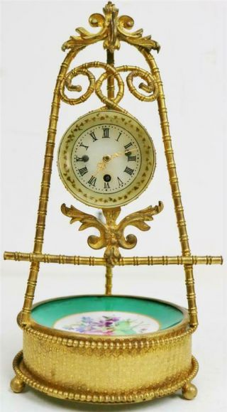Stunning Antique French 8 Day Bronze Ormolu & Sevres Tic Tac Mantle Clock