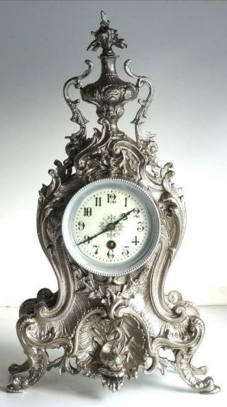 Antique French Mantle Clock 1880s Silvered Embossed Pierced Bronze