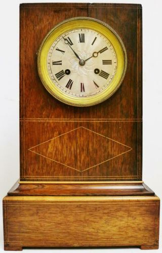 Antique French Empire 8 Day Bell Striking Silk Suspension Rosewood Mantel Clock