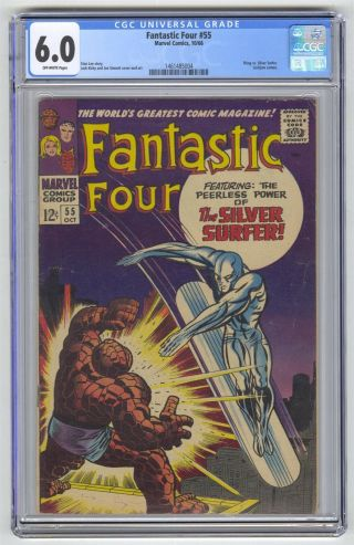 Fantastic Four 55 Cgc 6.  0 Vintage Marvel Comic Classic Thing Vs Surfer Cover