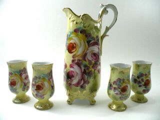 "Stunning Vintage Limoges China Hand Painted 14 "" Footed Water Pitcher W/goblets"
