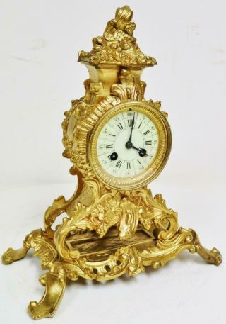 Antique French 8 Day Bronze Ormolu Ornate Rococo Bell Striking Mantle Clock